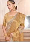 Beige and Gold Traditional Designer Saree For Ceremonial - 1