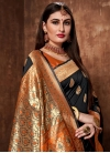 Banarasi Silk Black and Orange Woven Work Classic Saree - 1