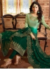 Bottle Green and Mint Green Pakistani Straight Suit For Ceremonial - 2