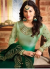 Bottle Green and Mint Green Pakistani Straight Suit For Ceremonial - 1