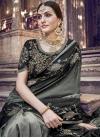 Banarasi Silk Black and Grey Beads Work Contemporary Style Saree - 1