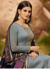 Satin Georgette Embroidered Work Pant Style Pakistani Suit - 1