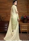 Cream and Mint Green Faux Chiffon Pant Style Pakistani Salwar Suit - 1