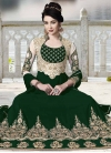 Bottle Green and Off White Booti Work Long Length Designer Anarkali Suit - 2