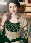 Bottle Green and Off White Booti Work Long Length Designer Anarkali Suit - 1