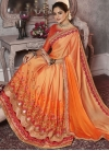 Embroidered Work Orange and Peach Trendy Classic Saree - 2