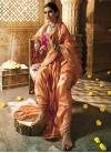 Peach and Rose Pink Beads Work Designer Traditional Saree - 2