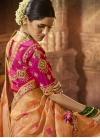 Peach and Rose Pink Beads Work Designer Traditional Saree - 1
