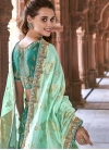 Beads Work Sea Green and Turquoise Silk Trendy Lehenga - 1
