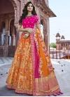 Beads Work Silk Orange and Rose Pink Trendy A Line Lehenga Choli - 1