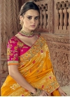 Mustard and Orange Banarasi Silk Half N Half Trendy Saree For Bridal - 1