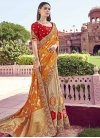 Beige and Orange Beads Work Designer Half N Half Saree - 2