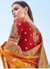 Beige and Orange Beads Work Designer Half N Half Saree - 1