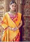Orange and Rose Pink Banarasi Silk Designer Contemporary Saree - 1
