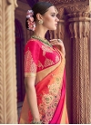 Rose Pink and Salmon Thread Work Designer Traditional Saree - 1