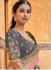Banarasi Silk Grey and Pink Beads Work Traditional Saree - 1