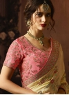 Cream and Pink Designer Contemporary Saree - 1