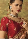 Peach and Red Embroidered Work Designer Contemporary Style Saree - 1