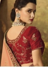 Peach and Red Embroidered Work Designer Contemporary Style Saree - 2