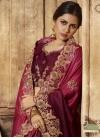 Booti Work Satin Silk Maroon and Red Designer Contemporary Style Saree - 1