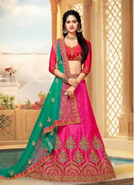 A Line Lehenga Choli Embroidered Art Silk in Rose Pink
