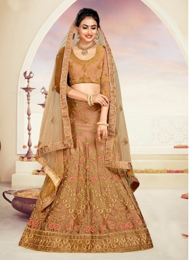 A Line Lehenga Choli Stone Work Satin Silk in Brown