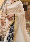 Absorbing Cream Print Traditional Saree - 1