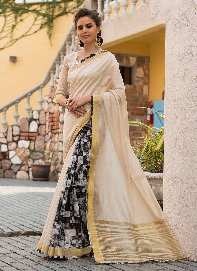 Absorbing Cream Print Traditional Saree