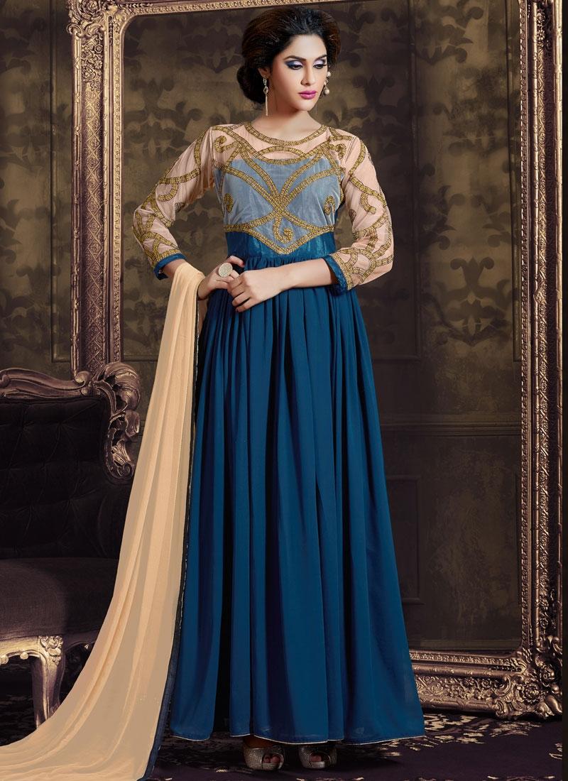 Absorbing Faux Georgette Long Length Designer Salwar Kameez