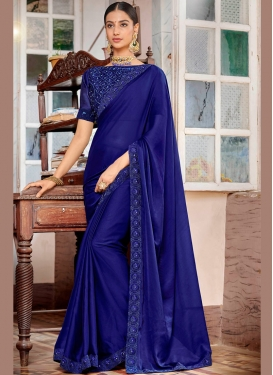Absorbing Navy Blue Lace Rangoli Classic Saree