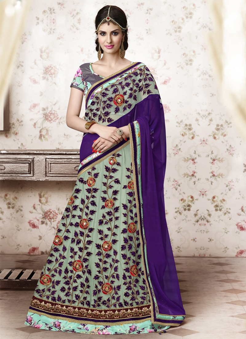 Absorbing Sequins And Lace Work Party Wear Lehenga Choli