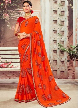 Abstract Print Faux Chiffon Classic Saree in Orange