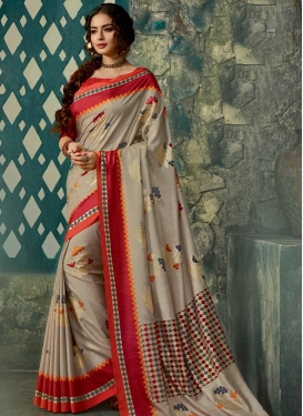 Abstract Print Work Beige and Red Traditional Saree