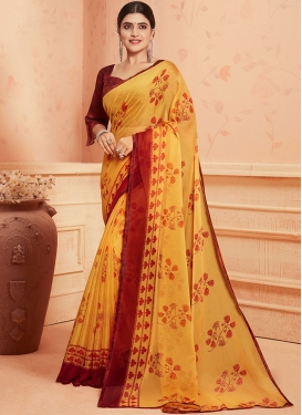Abstract Print Work Faux Georgette Printed Saree
