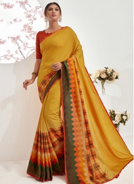 Abstract Print Work Mustard and Red Designer Traditional Saree
