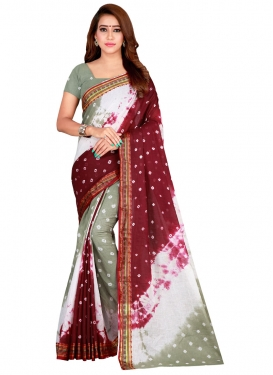 Abstract Print Work Traditional Saree