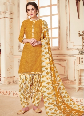 Abstract Print Work Trendy Patiala Salwar Suit
