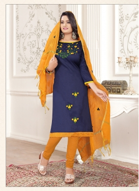 Adorable Cotton Thread Work Trendy Churidar Salwar Kameez