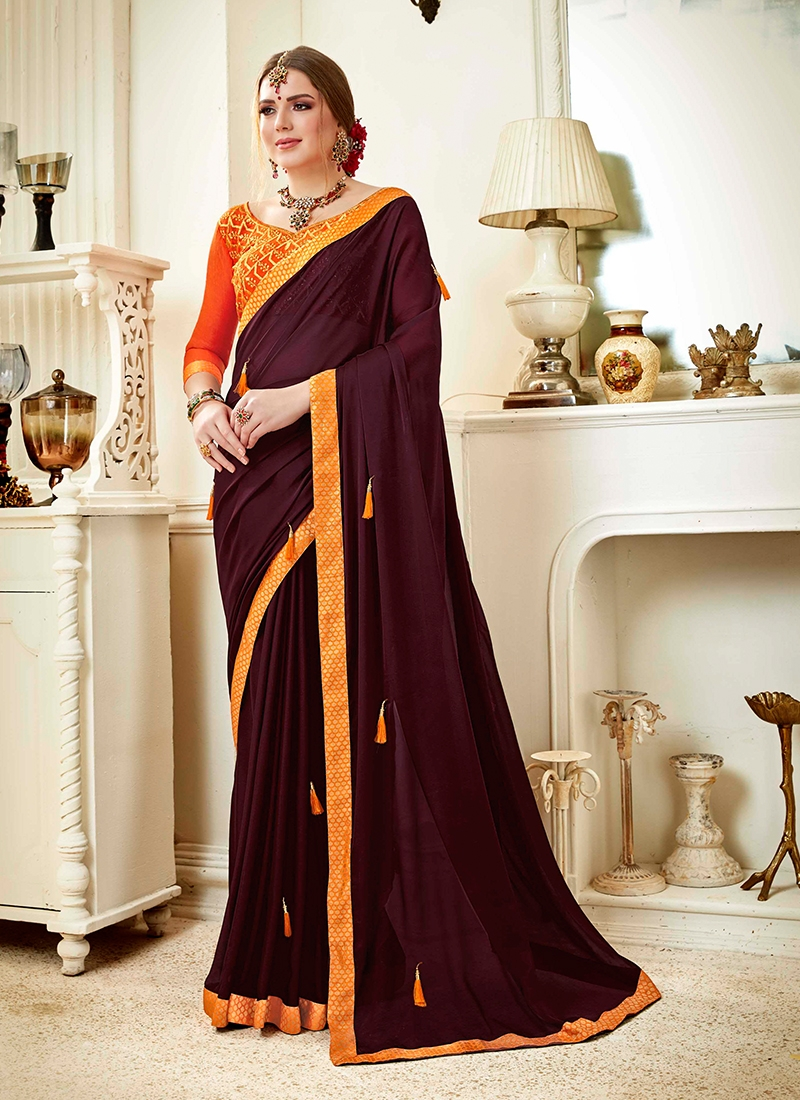Adorning Faux Georgette Embroidered Wine Saree