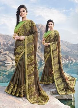 Affectionate Brown Embroidered Designer Saree