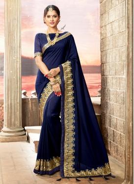 Affectionate Embroidered Navy Blue Art Silk Designer Traditional Saree