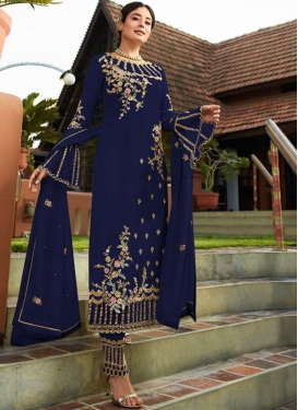 Affectionate Navy Blue Festival Pant Style Suit