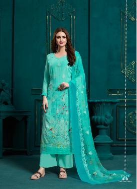 Alluring Firozi Faux Georgette Palazzo Style Pakistani Salwar Suit