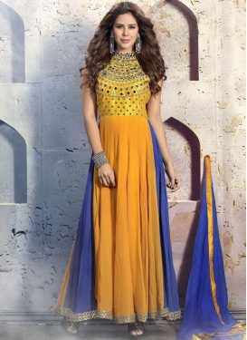 Alluring Mirror And Lace Work Readymade Salwar Kameez