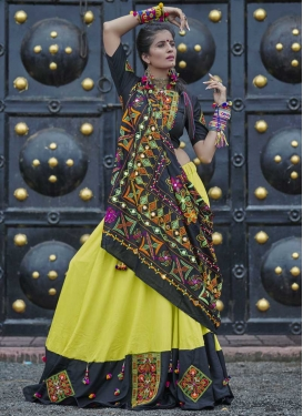Aloe Veera Green and Black A Line Lehenga Choli