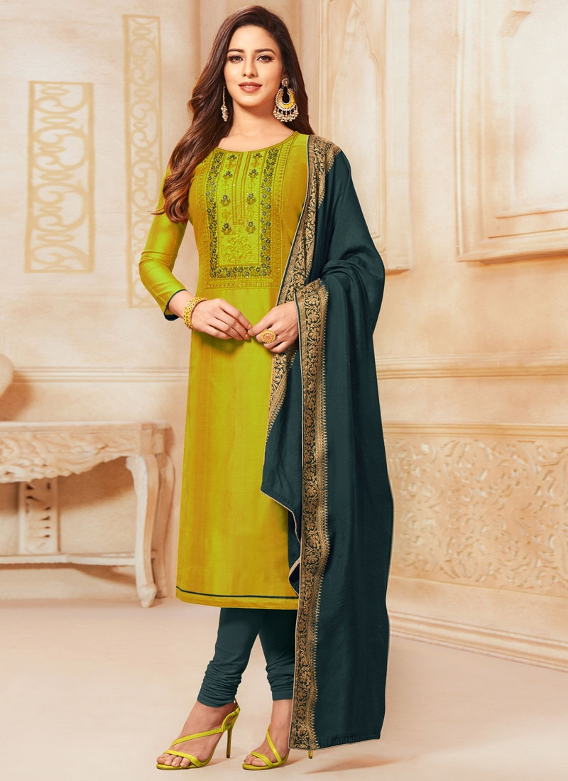 Aloe Veera Green and Bottle Green Cotton Satin Straight Salwar Kameez