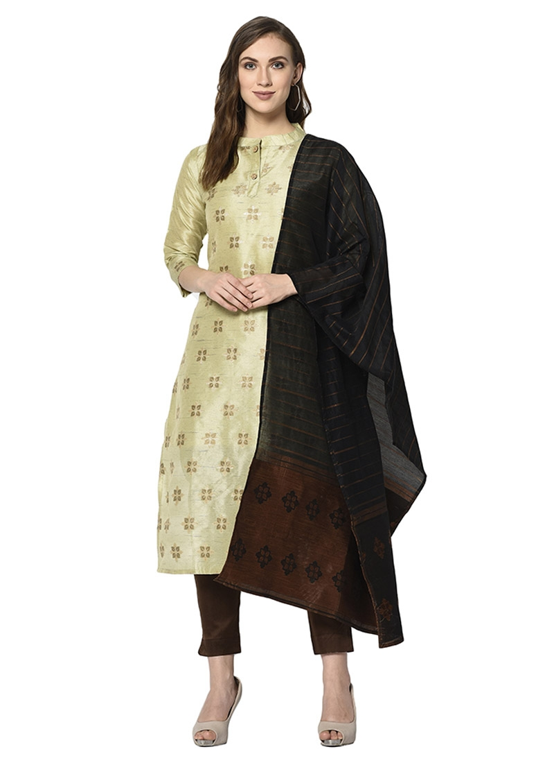 Aloe Veera Green and Coffee Brown Woven Work Pant Style Classic Salwar Suit