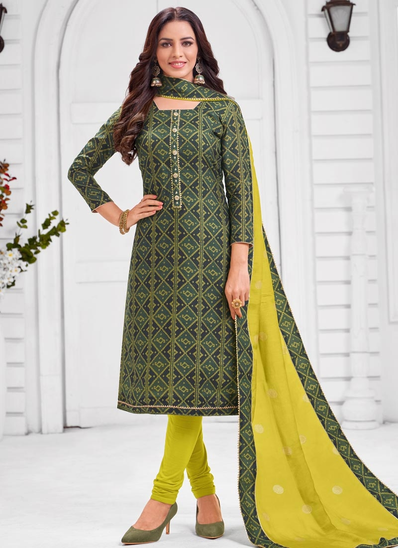 Aloe Veera Green and Green Trendy Churidar Salwar Kameez
