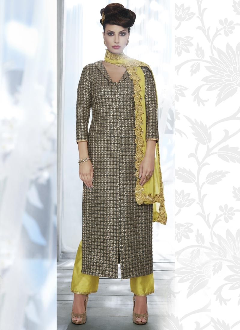 Aloe Veera Green and Grey Faux Georgette Pant Style Classic Salwar Suit