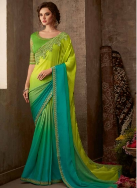Aloe Veera Green and Light Blue Chiffon Satin Classic Designer Saree